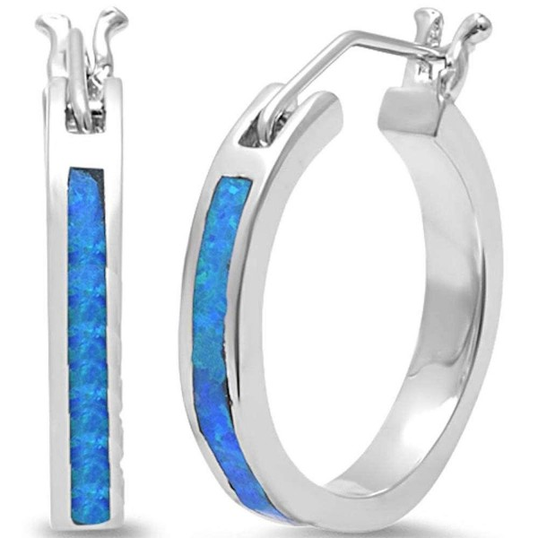 Lab Created Blue Fire Opal Round Hoop .925 Sterling Silver Earrings LARGE - C711M0UU3B1