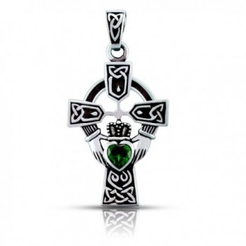 WithLoveSilver Sterling Silver 925 Celtic Cross and Claddagh Heart Pendant - CT1873S0ONS