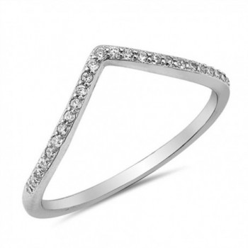 Sterling Silver Chevron Pointed Ring - C712JBXHYOX
