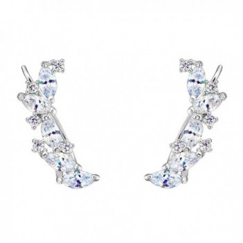 EVER FAITH 925 Sterling Silver Cubic Zirconia Elegant Ear Cuff Wire Wrap Sweep Hook Earrings Clear 1 Pair - CK129RLEVYP