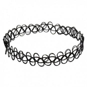 Jane Stone Choker Black Stretch Gothic Tattoo Henna Necklace - Black - C711TRQAOHD