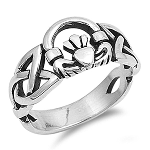 Celtic Trinity Knot Claddagh Heart Ring New .925 Sterling Silver Band Sizes 5-12 - CK187YYSHAX
