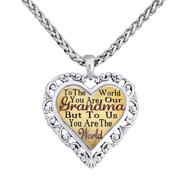 Grandma You Are The World To Us Silver Chain Necklace Heart Jewelry Grandmother - CL12BP20445