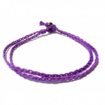 Double Purple Braided Hemp Anklet - Handmade - CE11T7IZLJX