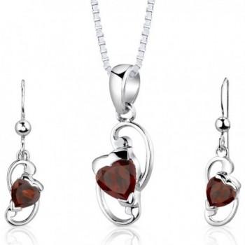 Garnet Pendant Earrings Set Sterling Silver Rhodium Nickel Finish Heart Shape 2.00 Carats - CJ112SVKWO5
