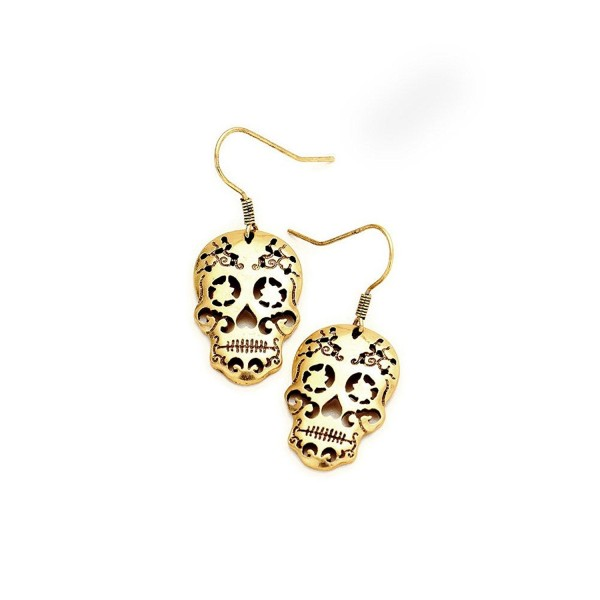 Antiqued Gold Sugar Skull Cutout Drop Earring [D&iacutea de los Muertos] - C4187D6INAC