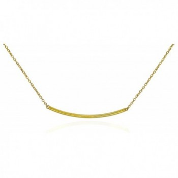 "Bar Pendant Necklace .925 Sterling Silver Gold Tone Curved Horizontal Design 16"" - 17"" - CU11Q5K9543"