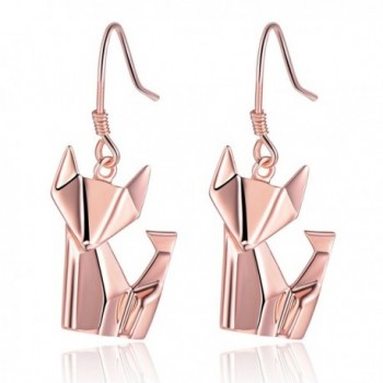 925 Sterling Silver Fox Drop Women Dangle Pierced Earrings Jewelry Gift - Rose Gold - CN1882N0MNA
