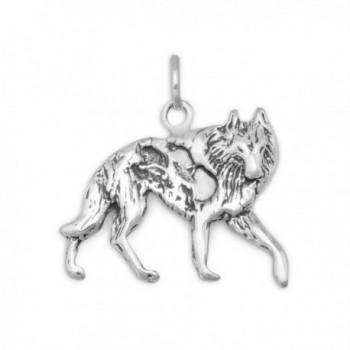 Oxidized 925 Sterling Silver Wolf Charm - CM115X6RSYT