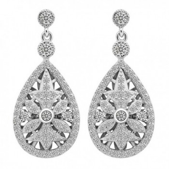 EVER FAITH 925 Sterling Silver Elegant Pave CZ Hollow-out Gastby Inspired Chandelier Earrings Clear - C9127MPSMBB