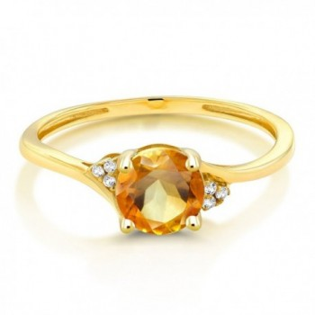 Yellow Diamond Accent Engagement Citrine
