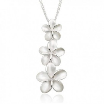 925 Sterling Silver Matte Finished Plumerias Hawaiian Flowers Pendant Necklace- 18 inches - CD11KEKD3CZ