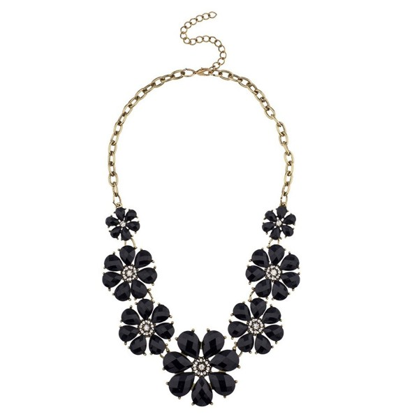 Lux Accessories Black Floral Flower Pave Crystal Statement Necklace - CF125R46B03