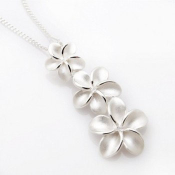 Sterling Finished Plumerias Hawaiian Necklace