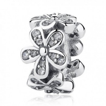 WOSTU Sterling Silver Pink Flower Spacer Bead Charms fit Charms Bracelets Silver Charms Christmas Gifts - CRC081 - CA17Z3A0T9U