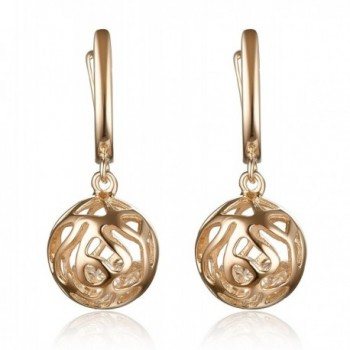 Lanfeny Sterling Silver Dangle Earrings Filigree Hollow Ball with Crystal Cubic Zirconia Encased - Pink - C112C6UH5SD