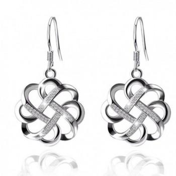 YAXING 925 Sterling Silver GOOD LUCK Knot Vintage Women Drop Earrings - CV1859IIZ63