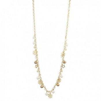 Lux Accessories Goldtone Christmas Holiday Snowflake imitation Pearl Long Chain Necklace - CW12LQ58YQB