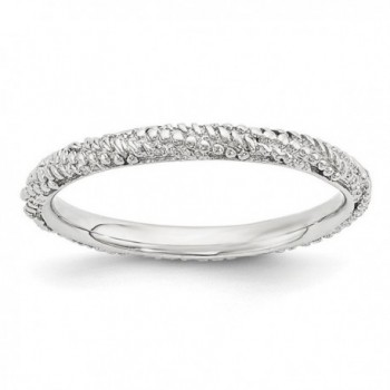 2.25mm Rhodium Plated Sterling Silver Stackable Textured Band - CB12K7JFN7Z