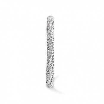 2 25mm Rhodium Sterling Stackable Textured in Women's Stacking Rings