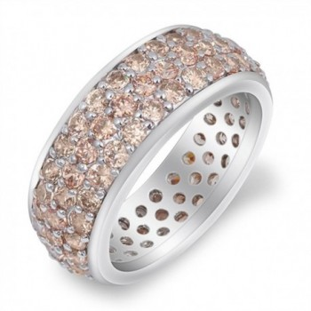 Sterling Silver Eternity Cluster Ring - Simulated Morganite - CM187YWQ6AA