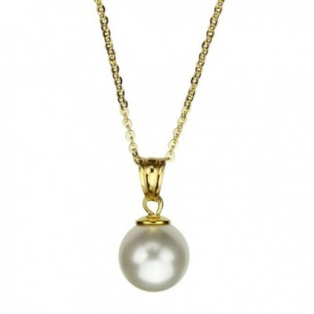 18k Gold-Flashed Sterling Silver Cable Chain Necklace Simulated Pearl Made with Swarovski Crystals - C111Q0A1Q17