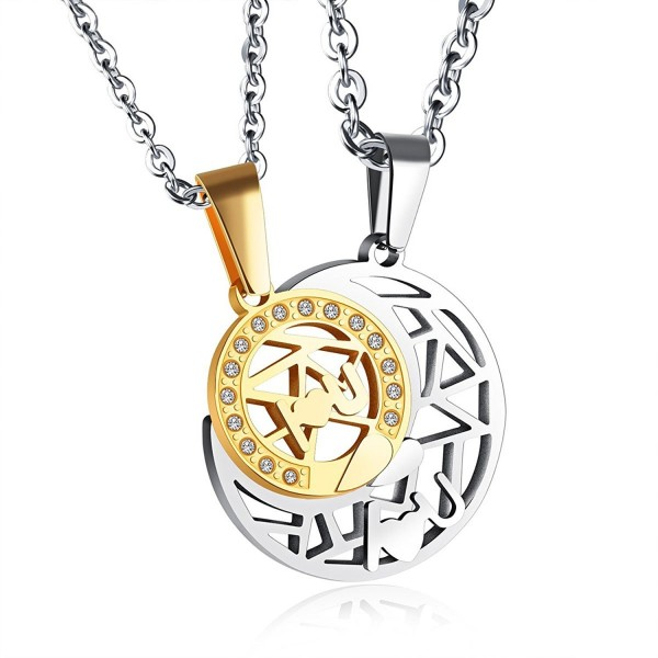 Godyce Sun and Moon Necklace Couples Stainless Steel Charm Jewelry - CV12GBWAFQF