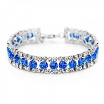 Neoglory Jewelry Eyes Tennis Link Bangles Bracelets with CZ Wrist Chain 4 Colors - Blue - CS11IG4DFXX