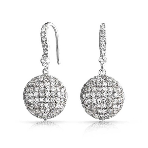 Bling Jewelry Large Disco Ball Cubic Zirconia Drop Earrings Rhodium Plated Brass - CI11F0XRN1X