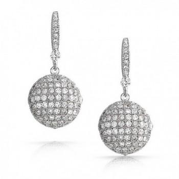Bling Jewelry Zirconia Earrings Rhodium in Women's Ball Earrings