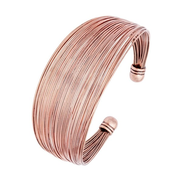 CHUANGYUN Polished Multiple Wire Copper Width Open Vintage Cuff Bangle Bracelet - Antique Red Copper - CP183Y9CHCX