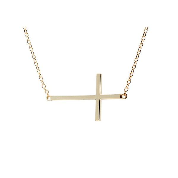 apop nyc Goldtone 925 Silver Sideways Cross Necklace 16 inch - 17 inch [Jewelry] (Goldtone-silver) - CR1189QU7NT