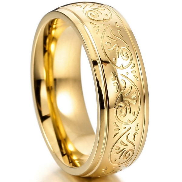 MOWOM Gold Tone 7mm Stainless Steel Ring Band Engraved Florentine Design - CH121IEUDVJ