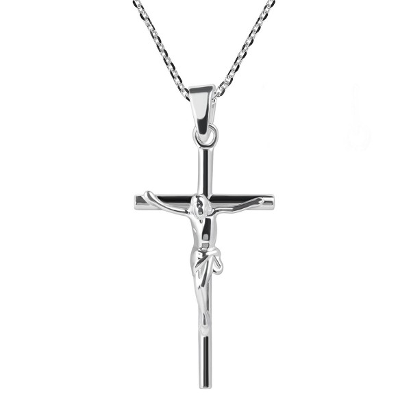 Faithful Devotion Crucifix Cross .925 Sterling Silver Pendant Necklace - CV12MX2ELI1