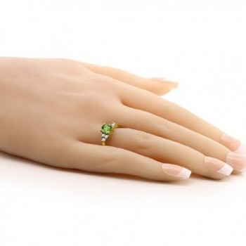 Green Peridot Yellow Plated Silver in Women's Wedding & Engagement Rings