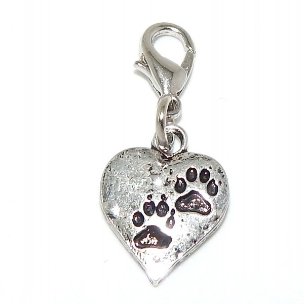 "Pro Jewelry Dangling ""Paw Prints on Heart"" Clip-on Bead for Charm Bracelet 29100 - CE11P375R4V"