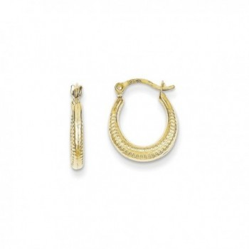 10K Yellow Gold Scalloped and Textured Hoop Earrings - CZ12BWDIYFN