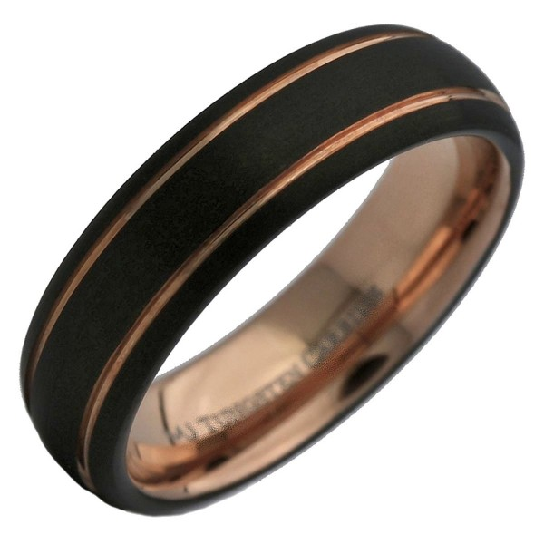MJ 6mm Tungsten Carbide Rose Gold and Black Plated 2 Stripes Wedding Ring - CV12O1WNY1A