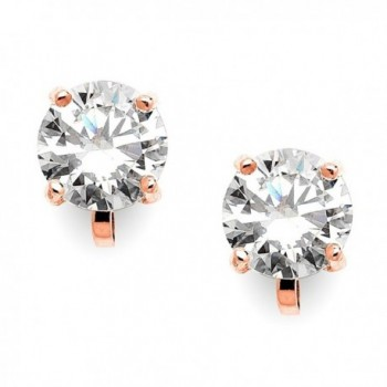 Mariell 14KT Rose Gold Plated 2 Carat CZ Clip-On Earrings - 8mm Round-Cut Blush Clip-ons - C4122N8CU8X
