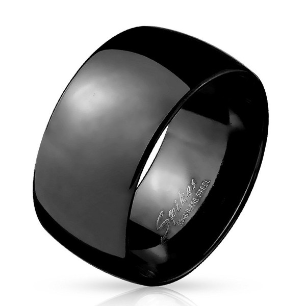 Stainless Steel Black or Gold Ion 10mm Wide Dome Wedding Ring Band R671 - Black Size 9 - CT12NDA8NQ9