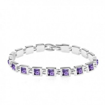 "Princess Cut Multi-Color CZ 18K Gold Plated Tennis Bracelet- 7"" - Purple - C7182TIH2QY"