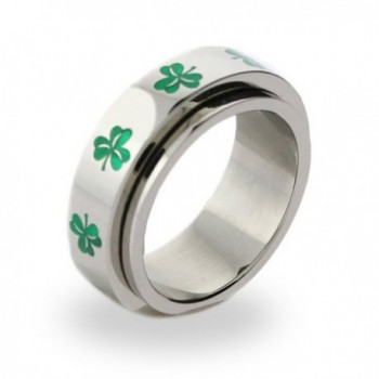Irish Clover Spinner Ring Luck of the Irish Green Clover Ring St Patricks Jewelry - C6112W3WK8F