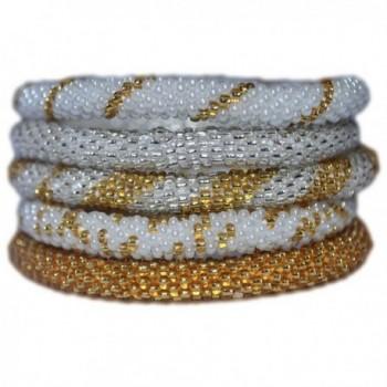 Silver- Gold and White Handmade Bracelets Set- Seed Beads-Nepal- BS101 - CC11LV6MAU1