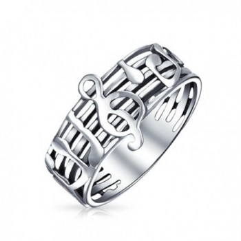 Bling Jewelry Music Notes Treble Clef Stelring Silver Band Ring - C612LC0RS6H