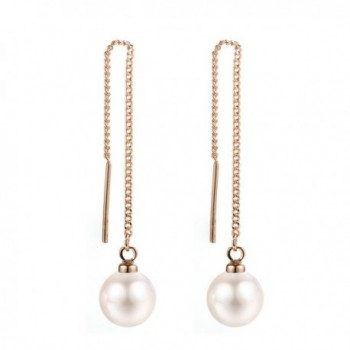 Threader Earrings Piercing Hypoallergenic gold white - Rose gold-white pearl - CB17AYU64DI