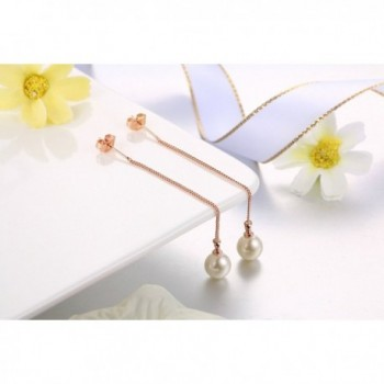 Threader Earrings Piercing Hypoallergenic gold white