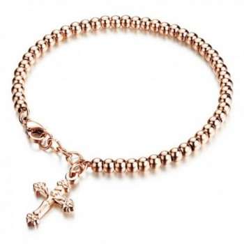 Stainless Steel Bracelet Polished Valentines - Rose Gold - CW189QC3AD0