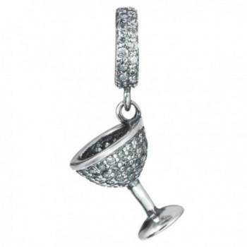 Sterling Silver Clear Cubic Zirconia Wine Glass Cup Dangle Bead For European Charm Bracelets - CD12MEK94NT