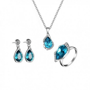 FANCYGIRL jewelry Sets Crystal Pendant Necklace Earrings Ring Gifts for Womens - CU189KQEQMU
