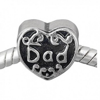 Dad charm Heart Bead For Snake Chain Charm Bracelet - C111BNYNQN7